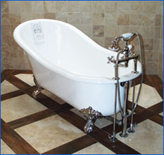 photo of a free standing bathtub remodel